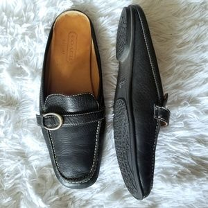 Coach Black Leather Flat Loafers 7.5
